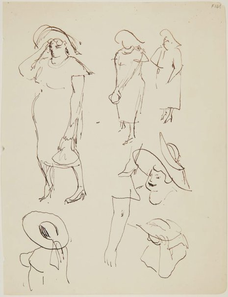 An image of (Studies of woman with hat) (Late Sydney Period) by William Dobell
