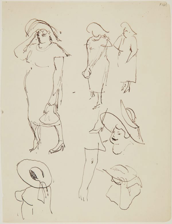 An image of (Studies of woman with hat) (Late Sydney Period)