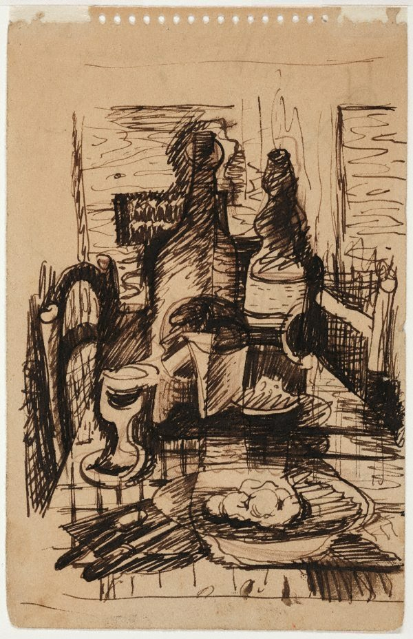 An image of recto: Cubist still life verso: Map of roads near Bapaume