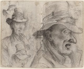 AGNSW collection Eric Wilson recto: Studies of old men verso: (studies of old men) (1943-1945) 9796