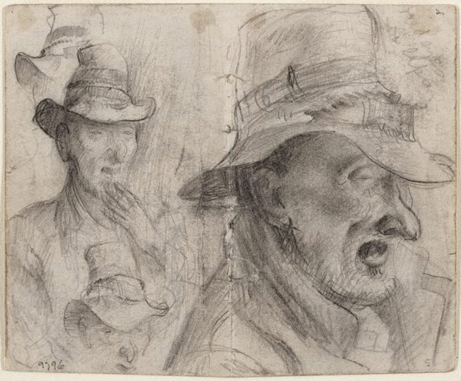 AGNSW collection Eric Wilson recto: Studies of old men verso: (studies of old men) (1943-1945) 9796