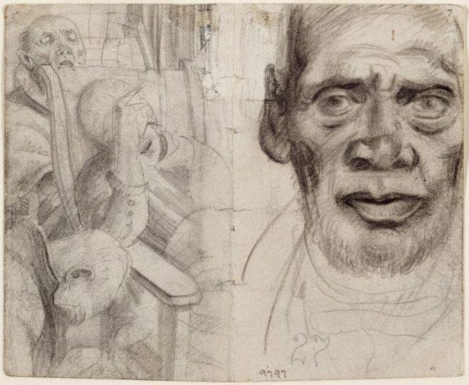 AGNSW collection Eric Wilson recto: Studies of old men verso: (studies of old men) (1943-1945) 9797