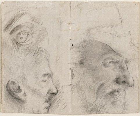 Alternate image of recto: Studies of old men verso: (studies of old men) by Eric Wilson