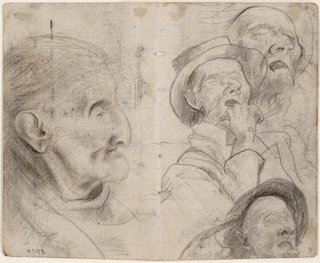 AGNSW collection Eric Wilson recto: Studies of old men, man in a hat sleeping verso: Study of old man, Lidcombe Hospital (1943-1945) 9798