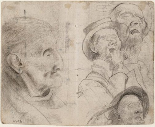 An image of recto: Studies of old men, man in a hat sleeping verso: Study of old man, Lidcombe Hospital by Eric Wilson