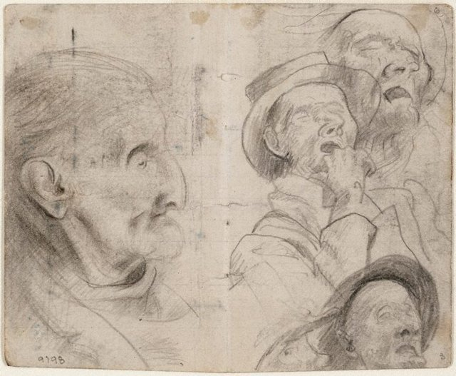 recto: Studies of old men, man in a hat sleeping verso: Study of old man, Lidcombe Hospital, (1943-1945) by Eric Wilson