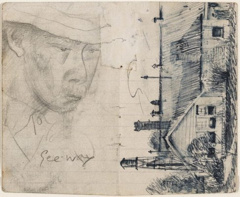 Alternate image of recto: Studies of old men, man in a hat sleeping verso: Study of old man, Lidcombe Hospital by Eric Wilson