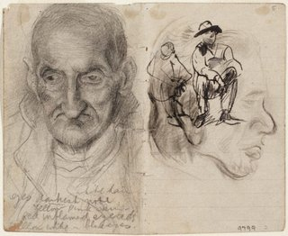 AGNSW collection Eric Wilson recto: Studies of old men verso: (studies of old men) (1943-1945) 9799
