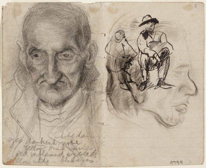 AGNSW collection Eric Wilson recto: Studies of old men verso: (studies of old men) (1943-1945) 9799