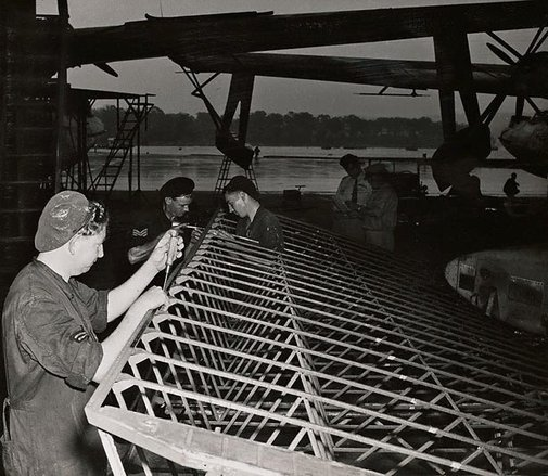 An image of Untitled (construction of airplane wing) by Max Dupain