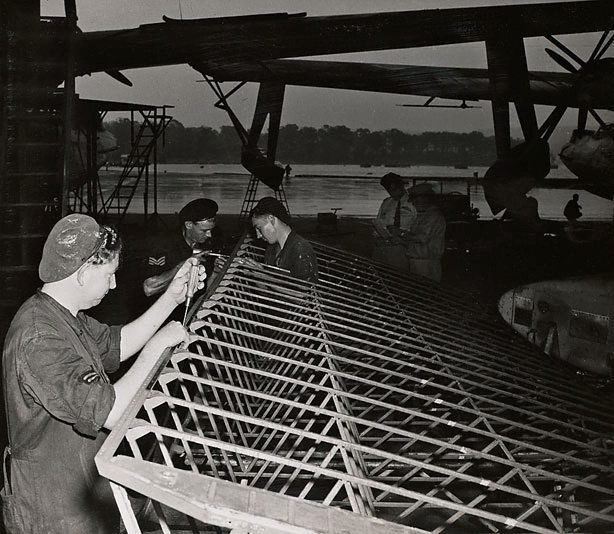 An image of Untitled (construction of airplane wing)