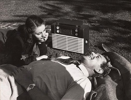 An image of Untitled (radio on lawn) by Max Dupain