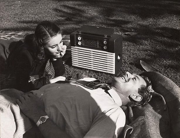 An image of Untitled (radio on lawn)