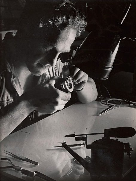 An image of Untitled (tradesman and tools) by Max Dupain