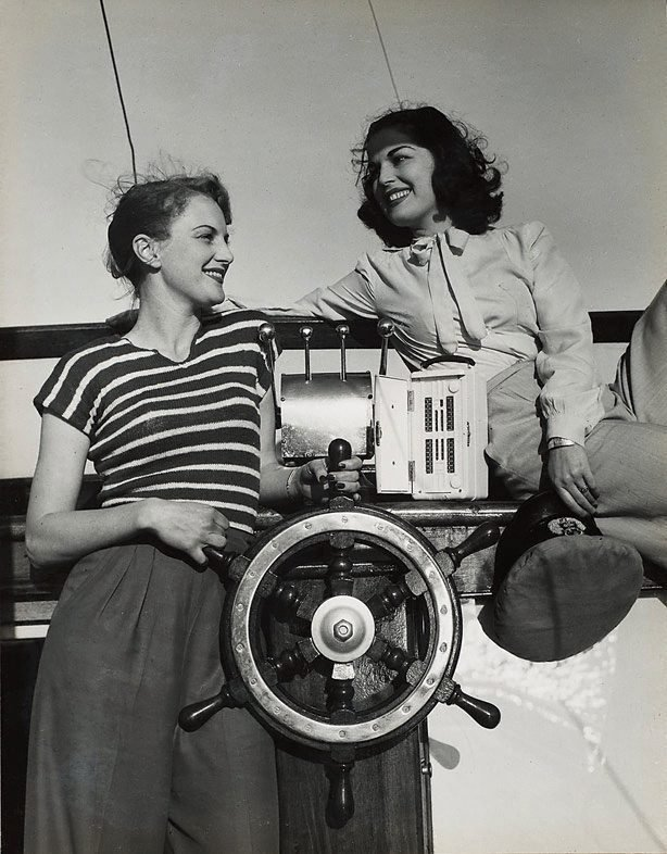 An image of Untitled (radio and boat wheel)