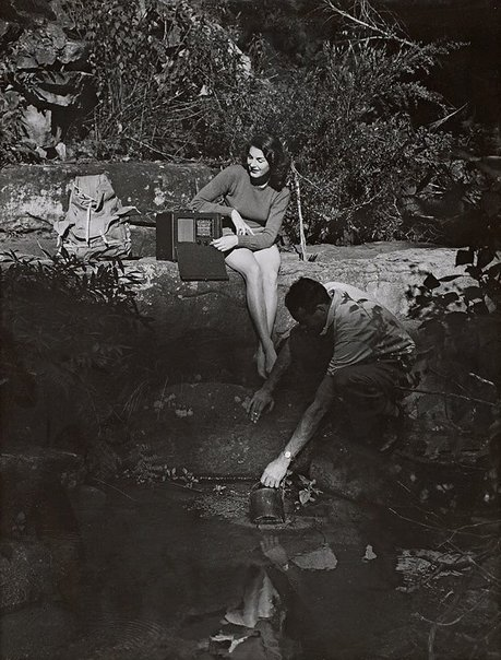 An image of Untitled (radio on rock ledge) by Max Dupain