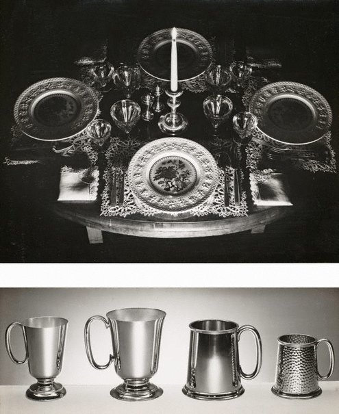 An image of recto top: Untitled (table setting with candle) recto bottom: Untitled (metals mugs) by Max Dupain