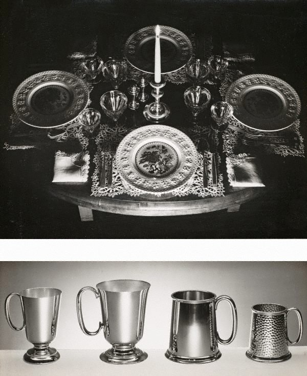 An image of recto top: Untitled (table setting with candle) recto bottom: Untitled (metals mugs)