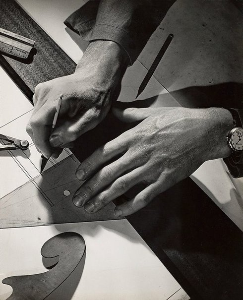 An image of Untitled (draftsman's hands) by Max Dupain