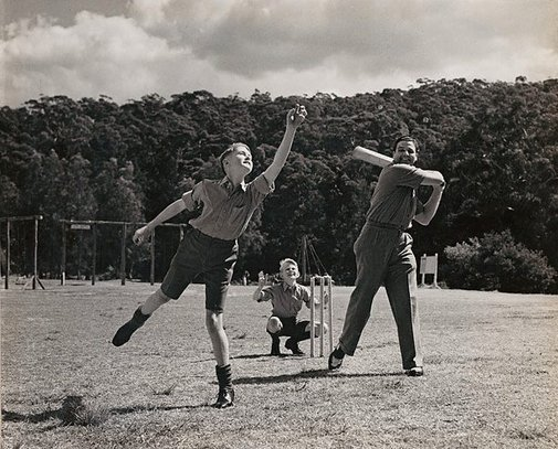 An image of Untitled (playing cricket) by Max Dupain