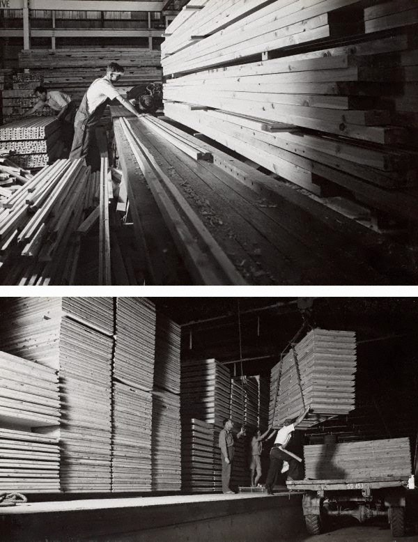 An image of recto top: Untitled (cutting milled timber) recto bottom: Untitled (loading timber)