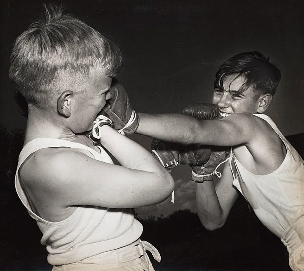 An image of Untitled (boys boxing)