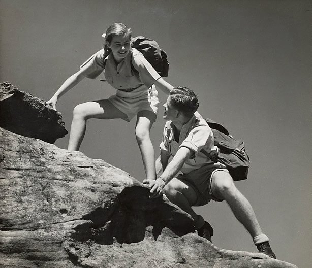 An image of Untitled (couple rock climbing)