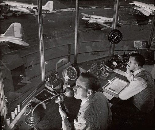 An image of Untitled (men in control tower) by Max Dupain