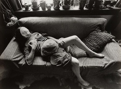 An image of Sculptress with macramé body suit, Sydney by Lewis Morley