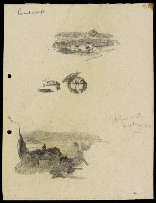 An image of Small hilly landscape [top] and Houses [centre] and Harbour and houses [bottom]