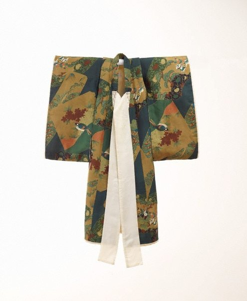 An image of Kimono for first presentation of baby at Shinto shrine (Miyamairi kimono) with design of fan-shaped cartouches containing pines, aoi leaves and Samurai battle scenes by