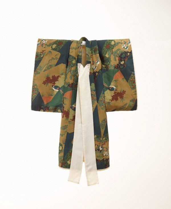 An image of Kimono for first presentation of baby at Shinto shrine (Miyamairi kimono) with design of fan-shaped cartouches containing pines, aoi leaves and Samurai battle scenes