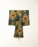 Alternate image of Kimono for first presentation of baby at Shinto shrine (Miyamairi kimono) with design of fan-shaped cartouches containing pines, aoi leaves and Samurai battle scenes by