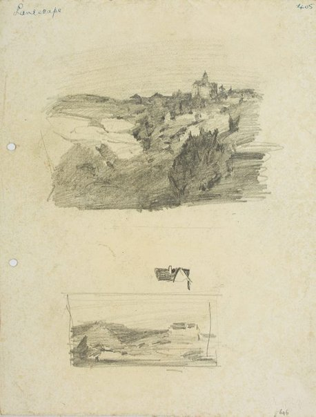 An image of recto: Landscape with rocks & building, Roofline and Landscape verso: Beach landscape with figures and Hillside with houses by Lloyd Rees