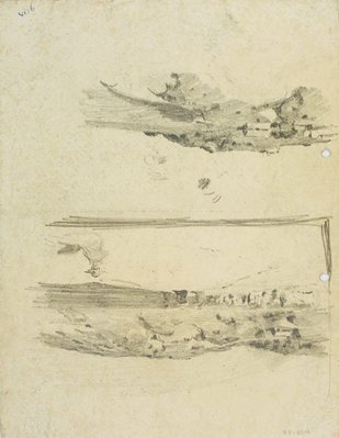 Alternate image of recto: Landscape with rocks & building, Roofline and Landscape verso: Beach landscape with figures and Hillside with houses by Lloyd Rees