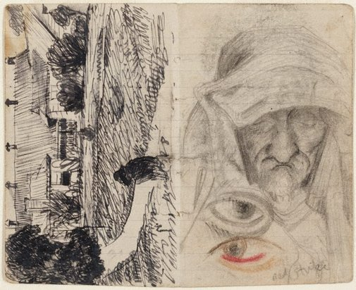 An image of recto: Lidcombe Hospital verso: Studies of old men, and blind eye by Eric Wilson