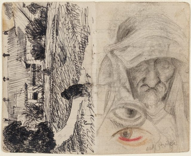 An image of recto: Lidcombe Hospital verso: Studies of old men, and blind eye