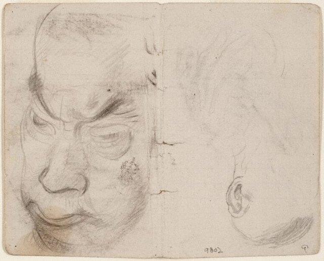 An image of recto: Studies of old men verso: (studies of old men)