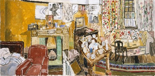 An image of Interior with fireplace and window at Greenwich by John Bratby
