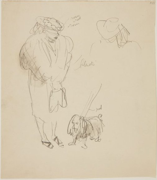An image of (Study of woman with dog) (Late Sydney Period) by William Dobell