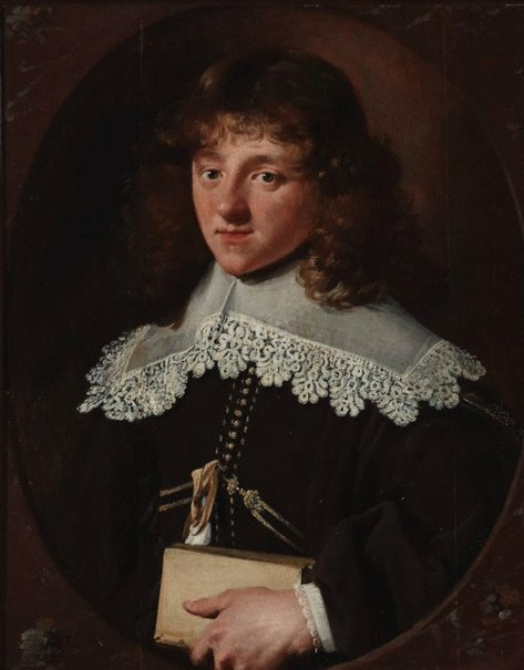 An image of Portrait of a young man with lace collar holding a book by Paulus Moreelse