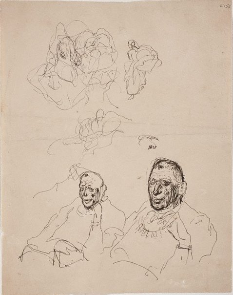 An image of (Abstract study and portrait studies of a man) (Late Sydney Period) by William Dobell