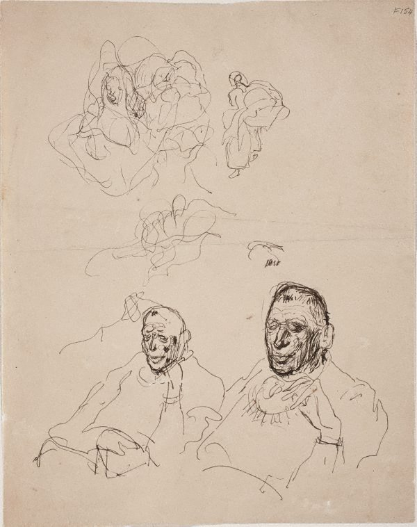 An image of (Abstract study and portrait studies of a man) (Late Sydney Period)