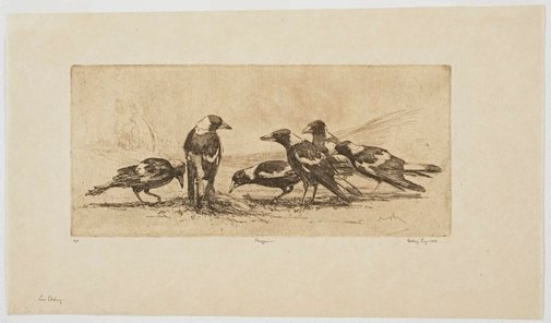 An image of Magpies by Sydney Long