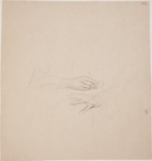 An image of (Study of hands, one holding a pipe) (Late Sydney Period) by William Dobell