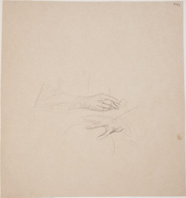 An image of (Study of hands, one holding a pipe) (Late Sydney Period)