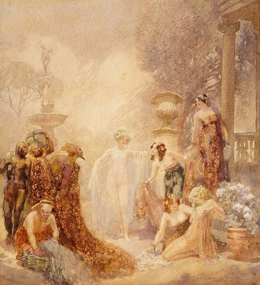 An image of The merchant of robes by Norman Lindsay