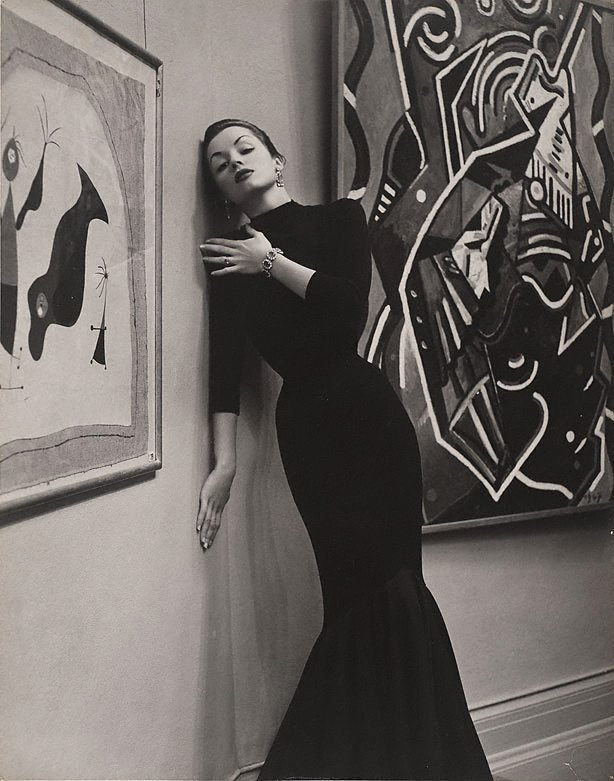 An image of Fashion illustration (Patricia Tuckwell in black fish tail dress)