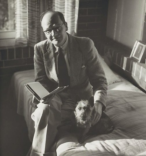 An image of Untitled (man with dog I) by Max Dupain