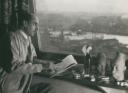 An image of Untitled (Douglas Annand sketching the harbour) by Max Dupain